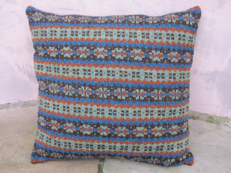 Knitted Fairisle Cushion Green Heather Mix
