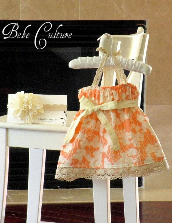 shabby chic baby dress peach and cream crochet baby girls halter dress newborn, baby, girls