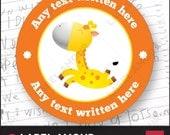 70 PERSONALISED Personalized STICKERS Labels. Teacher School Reward Well Done. Giraffe