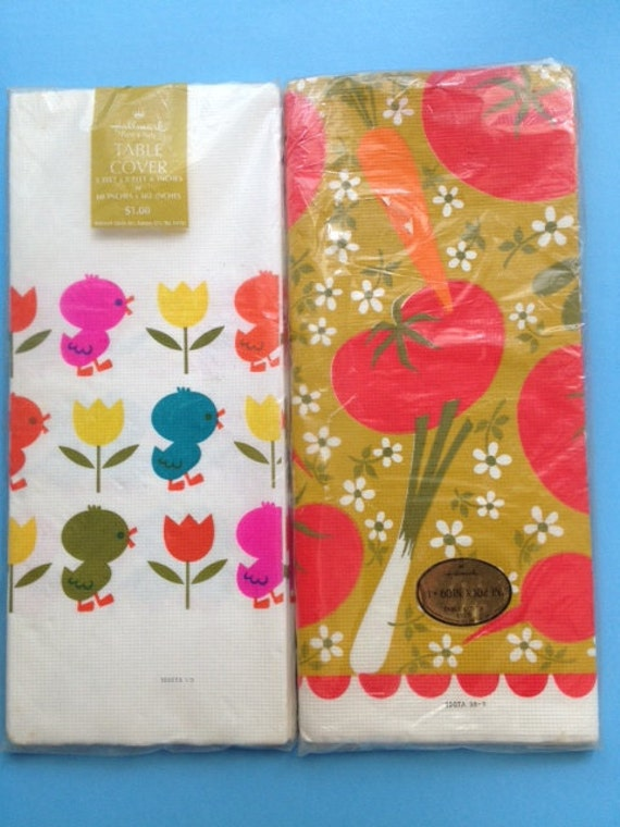 Vintage Paper Hallmark Tablecloths NIP Baby Chicks Tulips or Vegetables Flowers Craft or Use