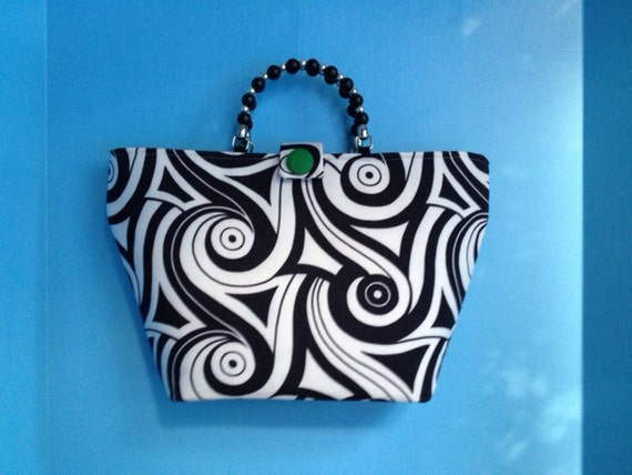 Mod Black and White Swirl Vintage Fabric Purse with Kelly Green Lining Beaded Handle and Sheer Scarf