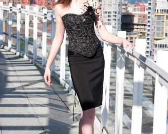 Reversible Boned Corset: Black Lace-Up with Spiderwebs/Skulls