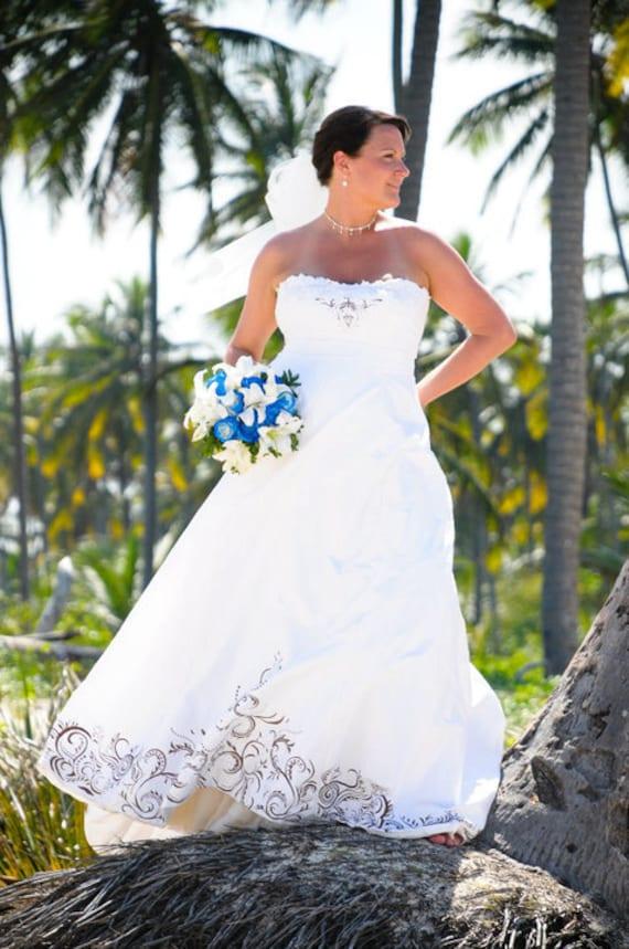 Hand Painted Silk Dupioni Strapless Wedding Gown