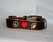 Adjustable Dog Collar, Embroidered, Peace. Love, Dog Paw