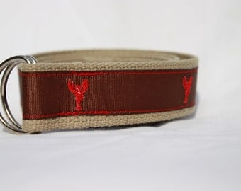 Men's Grosgrain Ribbon Belt, Lobsters, Tan Webbing