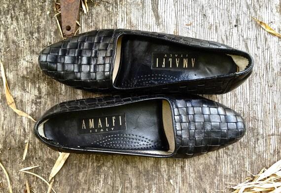 Vintage 1970s // 1970s Penelope Loafer // City Walk Black Leather Shoe