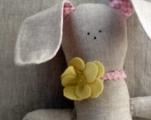 Natural linen and pink gingham stuffed bunny rabbit with felt flower necklace