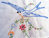 Vintage Tablecloth with Hand-embroidered  Bluebirds
