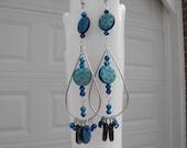 Long Dangle Earrings in Shades of Blue