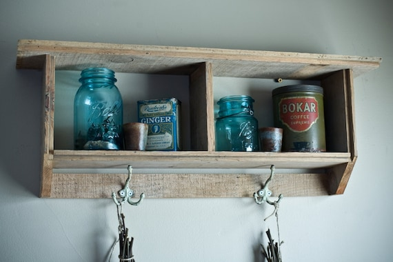 Reclaimed Barnwood Shelf with Antique Hooks