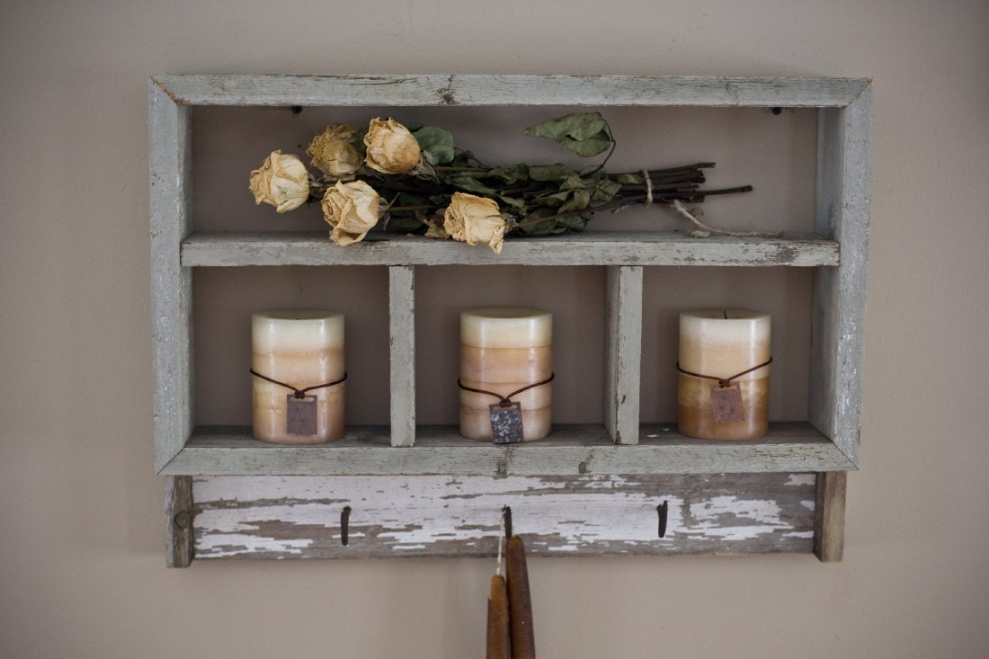 Reclaimed wood shelf with hooks by debstudio on etsy