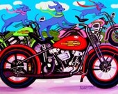 Colorful Funny Blue Dogs on Motorcycles Glicee Print 8x11 from original painting - Dawgs on Hawgs -  Korpita ebsq