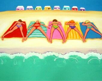Whimsical Women Beach Colorful Cottages 8x10 12x16 Glicee Print Ocean Seashore Coastal from original painting - Summer Sun - Korpita ebsq