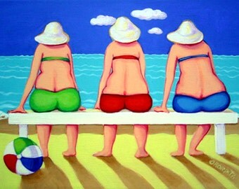 Funny Beach Women Seashore 9x12 Glicee Print Ocean Girlfriends from original folk art painting - Wave Watch - Korpita ebsq