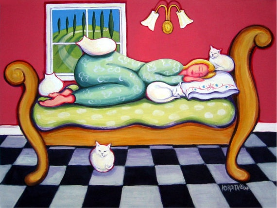 Whimsical cat folk art white cats crazy cat lady woman italy for Crazy mural lady