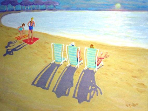 Sunset Beach Sunbathers Women Seashore Pastels Vacation 9x12 Glicee Print from original painting - Last Rays - Korpita ebsq