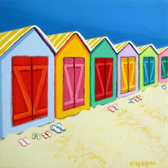 Beach Cabanas Colorful Huts Seashore Flipflops 10x10 Glicee Print from original painting - Cabana Row - Korpita ebsq