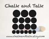 Set of 17 Circle Chalkboard Vinyl Chalk Labels in a Variety of Sizes - Organizing Labels