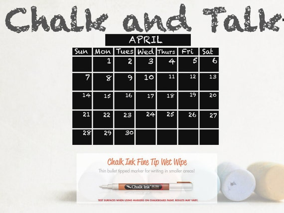 large chalkboard calendar with chalk ink pen included