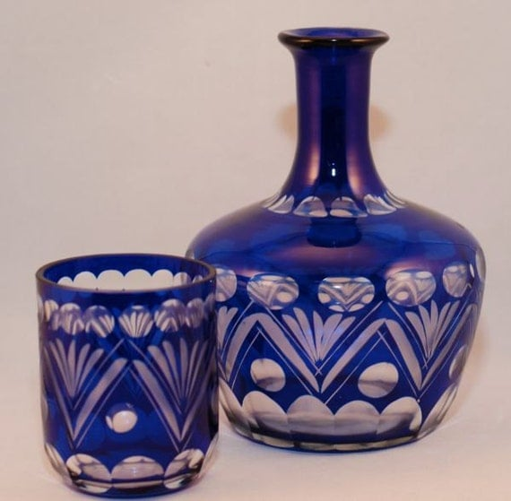 Vintage Bohemian Cut Glass Tumble Up Bedside Decanter Cobalt Blue
