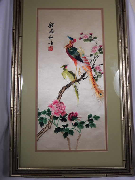 Vintage Framed Chinese Silk Embroidery Hand Made Peacock Peony