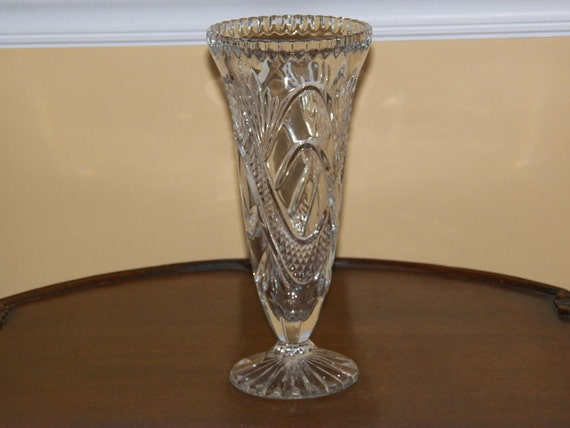 Vintage Lead Crystal Vase Etched Bud Vase By 1littletreasureshop