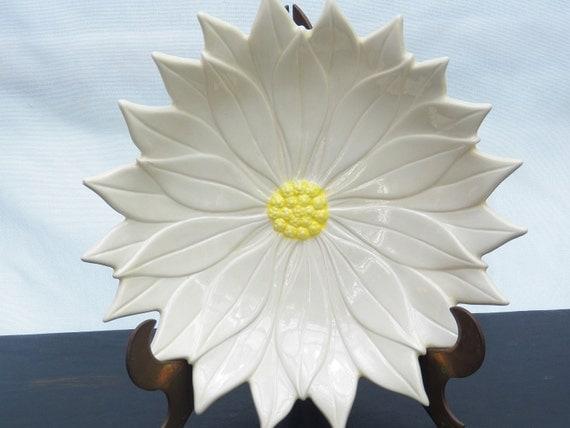 Lotus Flower Ceramic Plate Yellow Center White Petals Display