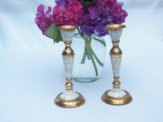 Reserved for Tyler- Brass Mother of Pearl Candle Stick Pair - Handcrafted in India-Candle holders- Ethnic- Elegant Table Decoration