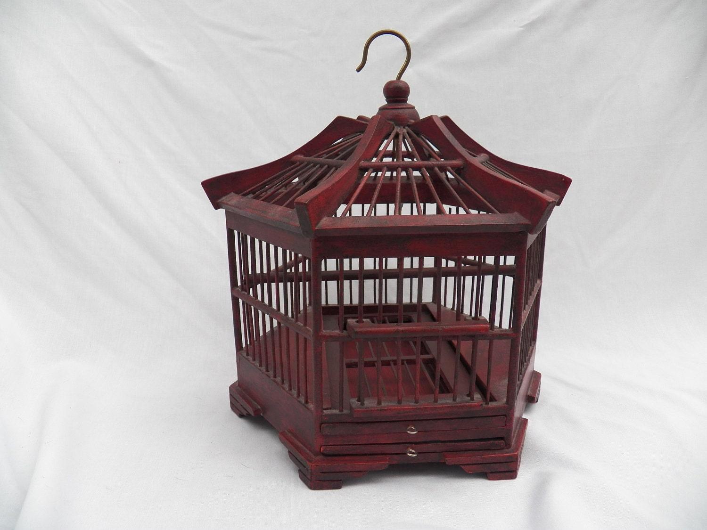 vintage wood hanging bird cage cottage home decor ornamental. Black Bedroom Furniture Sets. Home Design Ideas