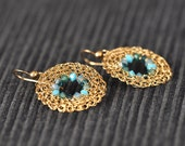 14K Gold Filled Crochet Round Earrings with Swarovski Beads - Free Shipping