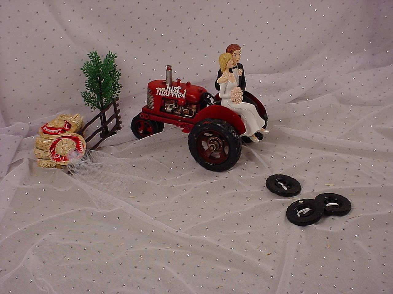 Red Tractor Farm Country Bride Groom Wedding Cake Topper