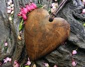 Wood necklace pendant, Love heart pendant, made from Irish bog Oak.