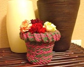 "Knitted Flower Pot Cover for Small Flower Pot (4 3/4 "" x 4 1/4"")"