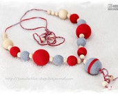 SALE - Natural, Organic Crochet Nursing necklace/Teething necklace/Breastfeeding Necklace for mom and baby - Grey, Red, Natural wooden beads