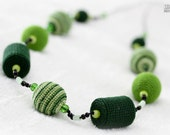 RESERVED FOR DARIA - Teething necklace/Nursing necklace - dark green neon green green combi - crochet sling necklace