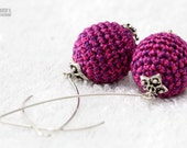 Lilac and Purple Crochet cotton earrings. spring summer fashion jewelry. made in Israel. Mother's Day Gift Idea