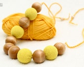Nursing Breastfeeding necklace - yellow and natural juniper wooden beads - crochet sling necklace.
