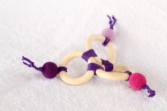 Organic Teething Toy - Teething rings with crochet wooden beads in lilac, purple and fuchsia