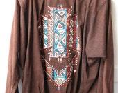 Vintage 1980s Stone Washed Denim Hand Painted Oversized Jacket