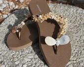 Brown Embellished Flip Flops (Size 5 - 6)