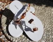 White Embellished Flip Flops (Size 7 - 8)