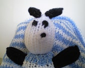 Knit Blue Baby Blanket and Panda Bear