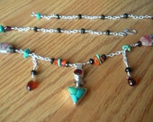 Turquoise, Garnet, Carnillian, Golden Rhodenite and Black Tourmaline Necklace