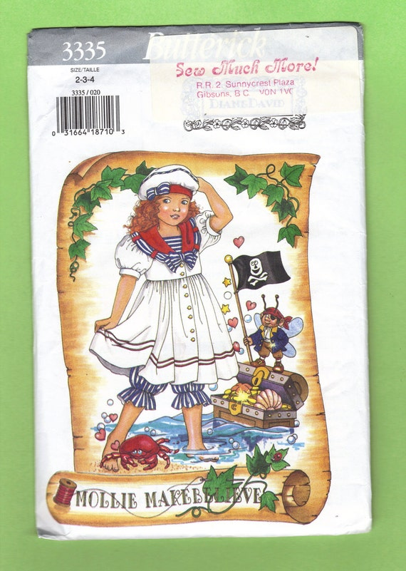 Butterick 3335 Mollie Makebelieve Girls sailor Dress Hat and Bloomers Pattern Extremely Cute by designer Diane David
