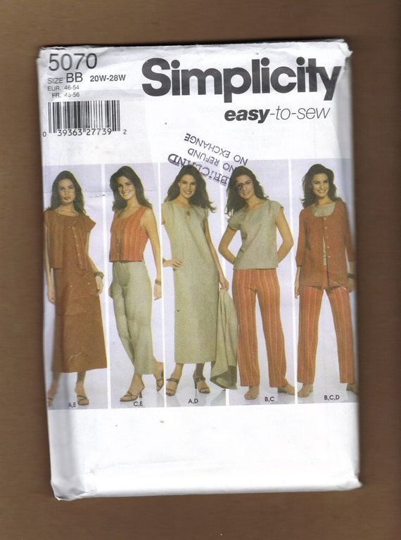 Simplicity Easy to Sew Plus Size Dress Top Pants Vest Jacket Pattern 5070 Sizes 20W to 28W