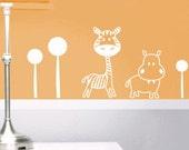 Wall Decals for Baby Nursery Decor - Animals  - Savanna Collection - White Zebra and Rhinoceros - Great Newborn Gift