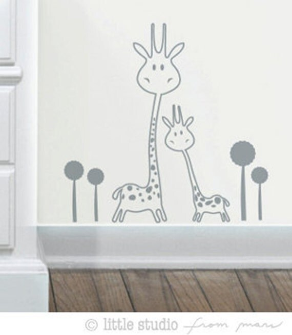 Vinyl Wall Decal SALE - Baby Nursery - Animals - Two Giraffes