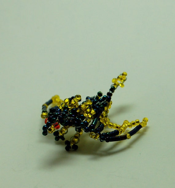 Yellow and Iridescent Beaded Dragon 3D