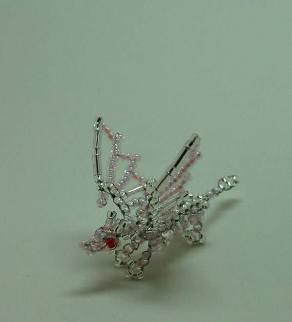Pink and Silver Beaded Dragon 3D