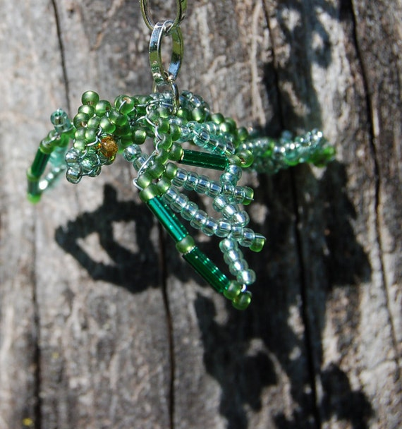 3D Beaded Hanging Dragon, Olive and Silver Green